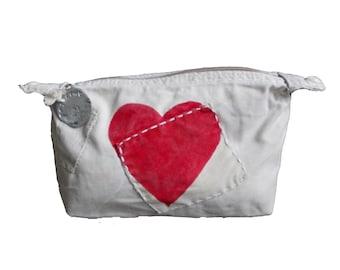 Ali Lamu Large Clutch Bag Natural Heart Red