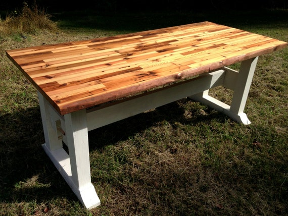 Buy Butcher Block Table Top: Butcher Block Table Top And Trestle Frame