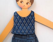 Tank top and pants girl or boy cotton blue indigo block print, lined with plain cotton