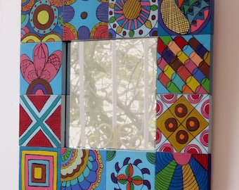 Patchwork wooden frame hand painted blue and multicolored squares