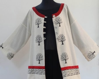Large jacket Brown woven cotton with black print, tree of life and Burgundy trim