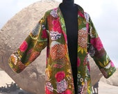 Long jacket woman collared officer gaudri green and multicolor cotton printed exotic