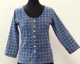 Tunic top short sleeve lightweight cotton, fully buttoned front, printed 3/4 blue and green