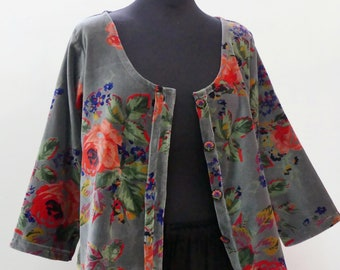 Vest runs(roams) woman grey cotton velvet printed with large pink flowers