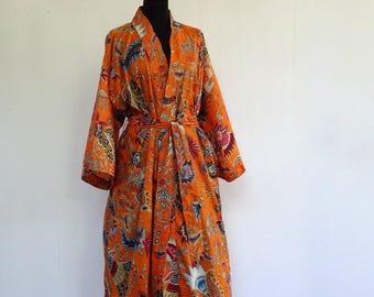 Kimono dressing gown orange and multicolored designs pailsley