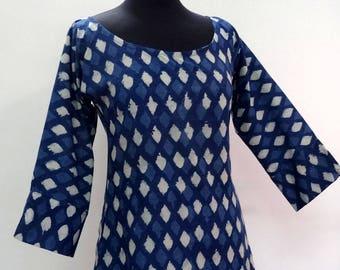 Tunic mi long woman cotton Argyle print block printed indigo blue and white, round neck, 3/4 sleeves