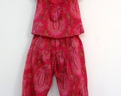 Cotton little girl set and pantsRed printed paisley, lined with Red plain cotton