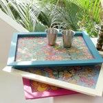Multicolored Rectangular Trays in Painted Wood with Original Design Handmade by BINDU ART SCHOOL