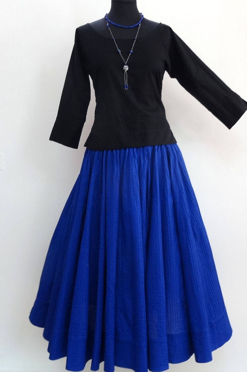 fb6819d55 Long skirt in plain cotton multi ply royal blue with matching | Etsy
