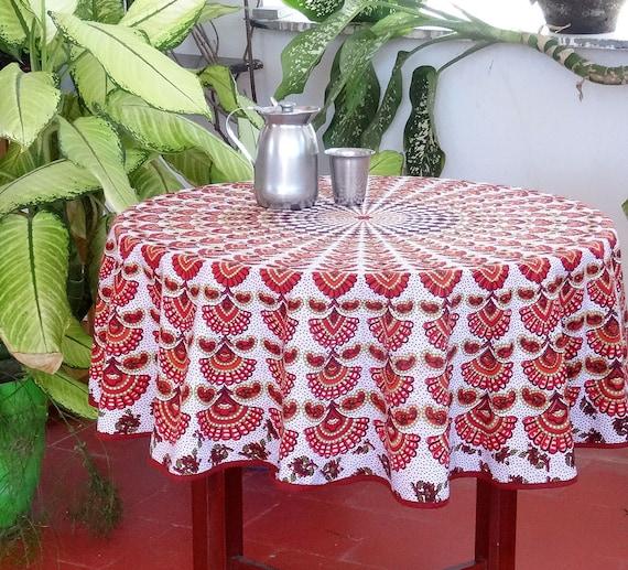 nappe ronde pour petite table ou gu ridon en coton indien. Black Bedroom Furniture Sets. Home Design Ideas