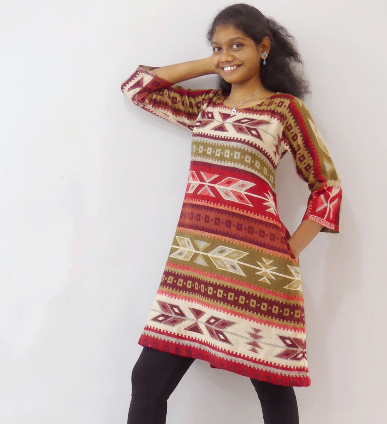 Reversible sweater tunic dress with red and beige ethnic design with matching scarf