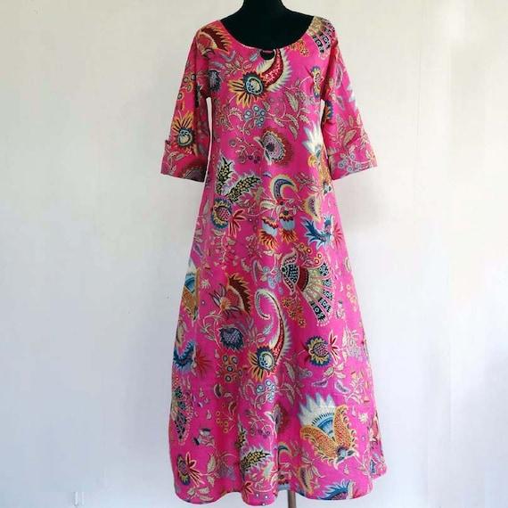 Longue Robe D Interieur Robe D Hotesse Ample En Coton Etsy