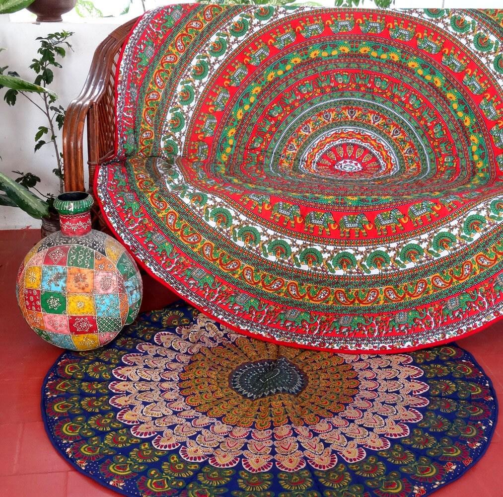 Tapis Rond Tenture Murale Couvre Table A Dessin Mandala Indien