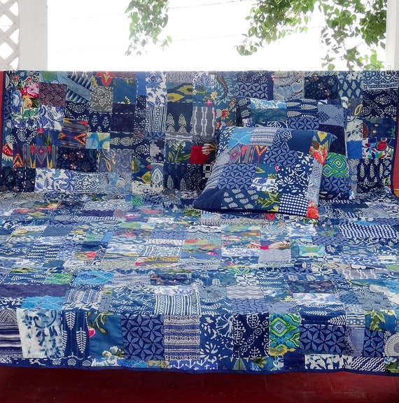 dessus de lit plaid tenture en patchwork de coton bleu. Black Bedroom Furniture Sets. Home Design Ideas