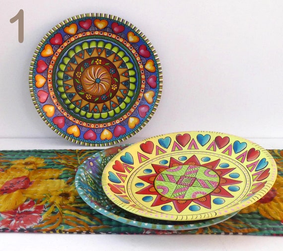 Bowl in recycled aluminum hand-painted  for a gypsy and bohemian ambience