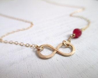 Infinity bracelet, Ruby bracelet gold, yoga braclet, bridesmaid gift, bridesmaid bracelet, thin delicate bracelet, spiritual jewelry