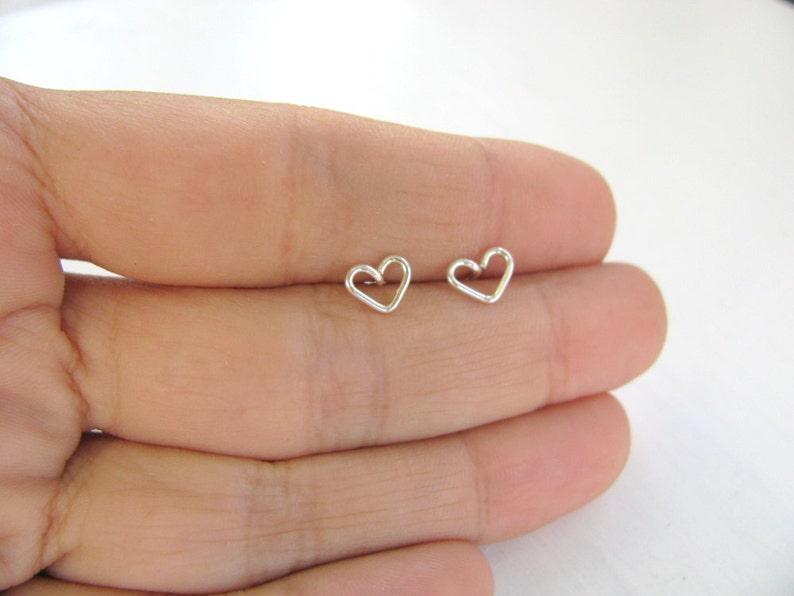 e94b274254e7 Tiny heart silver earrings heart stud earrings small post