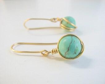 Turquoise earrings, gold earrings, wire wrapped earrings, delicate, everyday earrings, dangle earrings, gemstone earrings, bridesmaid set