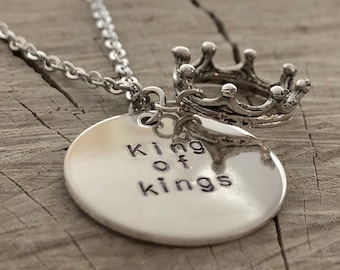Sterling Silver - Hand Stamped Necklace - King of Kings - Crown Charm
