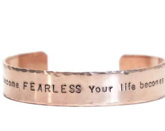 Metal Cuff Bracelet - Fearless Limitless - Hand Stamped Cuff Bracelet - Thick Copper - Hammered Edge