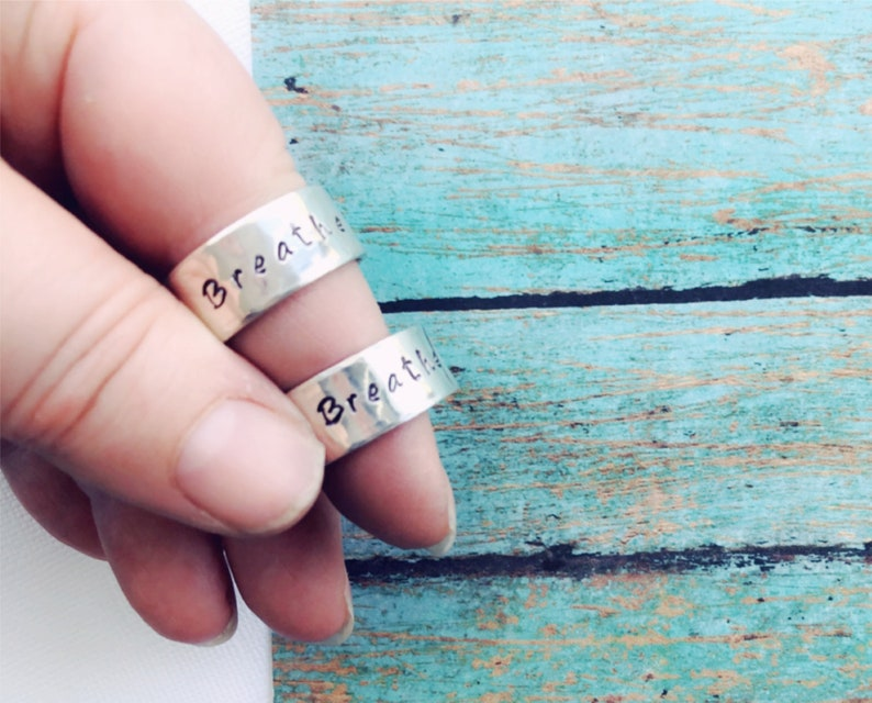 Hammered Sterling Silver Thick Ring Band Name Stacking Adjustable Date Be Brave Thumb Ring It is well Imagine or Personalized
