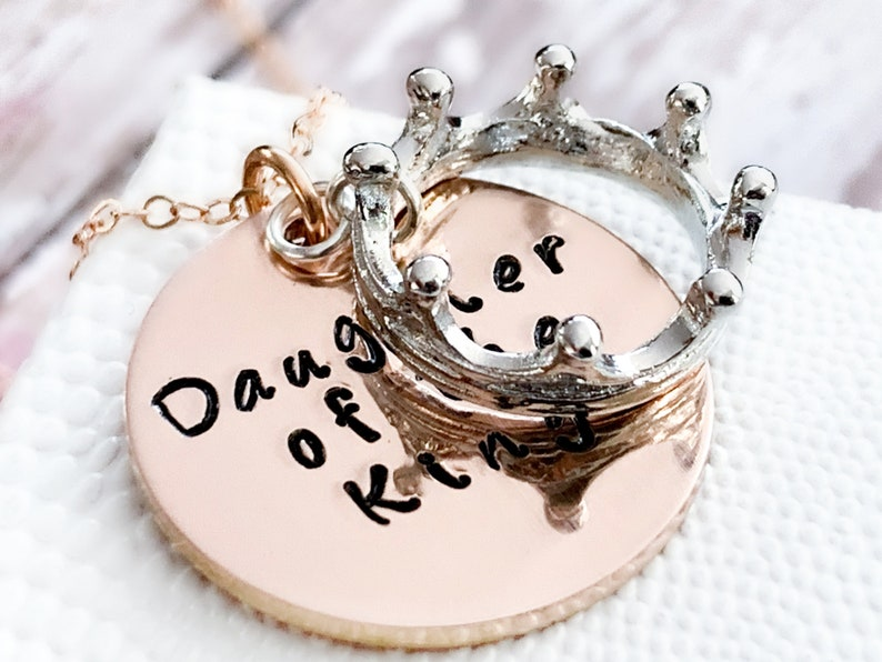 Daughter of the King Necklace Rose Gold Crown Necklace Daughter Bar Mitzvah Gift Daughter Baptism Gift Scripture Necklace for girls