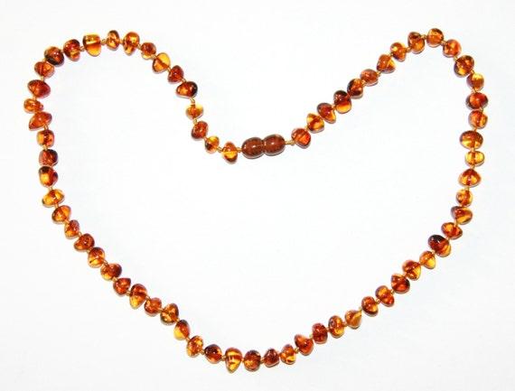 45 cm Genuine Baltic Amber Adult  Necklace Unpolished  Cognac Colour