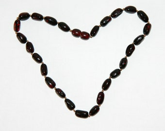 Dark cherry olive beads Baltic amber teething necklace for your baby 27v