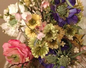 WILDFLOWER BRIDAL BOUQUET, Mixed Floral Spring Bouquet, Wedding Bouquet, Groom's Boutenniere, 2 Piece Wedding