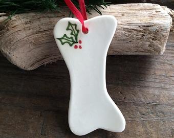 Dog Ornament, Ceramic Dog Bone Ornament New puppy ornament, Handmade pottery dog bone ornament, Pet Ornament, PERSONALIZED Dog Ornament