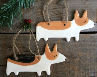 Dog Ornament, Corgi Dog Ornament, Welsh Corgi Ornament,Handmade pottery Dog Ornament,Red and White Corgi tri color, black corgi ornament