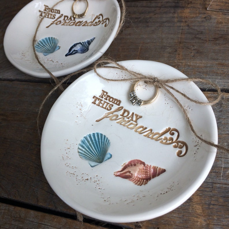 romantic Quote From this day Forward Beach wedding Ring Dish Shell Wedding Ring Bowl Nautical Shell Ring Dish Nautical ring bearer bowl