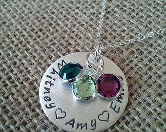 Hand Stamped Mom Necklace, Baby Name Necklace, Family Necklace, Kids Names Necklace, Mom Necklace, Grandma Necklace, Stamped Evermore