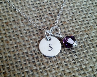 Hand Stamped Sterling Initial Charm Necklace, Hand Stamped Initial Charm Personalized with Swarovski Crystal