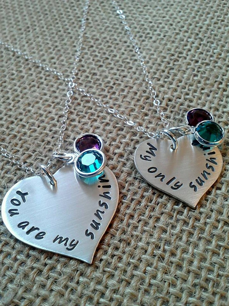 8239702e505157 Mother Daughter Necklace Sterling Silver You are my sunshine | Etsy
