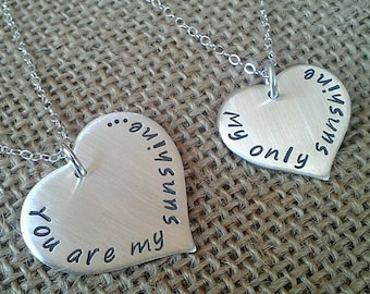 Sterling Silver Mother Daughter Necklace, You Are My Sunshine My Only Sunshine, Sterling Silver Heart Necklace Set for Mother and Daughter