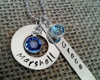 Personalized Sterling Mother Necklace, Custom Grandma Necklace, Sterling Silver Mom Necklace, Kids Names and Birthstones Necklace