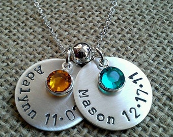 Family Name Necklace, Personalized Name Date Birthstone Hand Stamped Mothers Necklace, Grandma Necklace, New Mommy Necklace