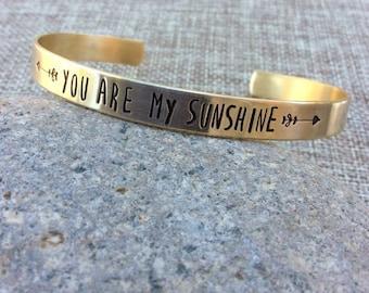 You Are My Sunshine Bracelet,  Inspirational Bracelet, Personalized Bracelet, Custom Cuff Bracelet, Graduation Bracelet