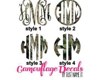 Camo Monogram Decal | Camo Car Decal | Camo Monogram Sticker | Custom Vinyl Decal | Yeti Cup Decal | Custom Decal | Monogram SHIPS FAST
