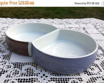 "15% Off SALE BLOCK CHROMATICS/ 2 Section 10.5"" Serving Dish/Beige Black Divided Vegetable Bowl/Made in Germany1970's Minimalist  Serveware"