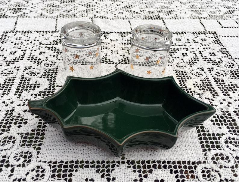 Dansk Ceramic GreenHolly Shaped DishGreen Snack Candy Nut Dish 2 Votive Drink Glasses Dansk Terra Cotta EarthenwareHoliday Entertaining