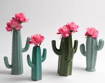 Cactus Vase - Small Turquoise Cactus Bud Vase - White Faux Taxidermy - Table Top Decor - Cactus Decor - Cactus Gift - Cactus Planter