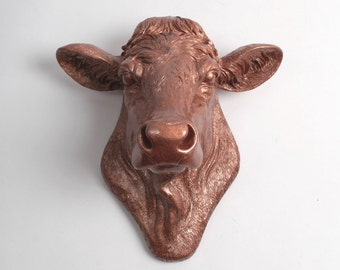 Cow Head By White Faux Taxidermy