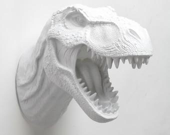 Dinosaur Decor T rex Head in white, The Bronson. Faux Taxidermy Trex Head Wall Art, Dinosaur Head Jurassic Decor
