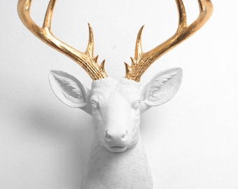Deer Head Wall Mount Decor  - The XL Alfred - White and Gold Deer Decor Wall Hanging - Fake Animal Head by White Faux Taxidermy Stag Mounts