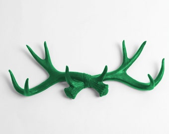Chic Rustic Wall Hook - Kelly Faux Antler Decor - Antler Wall Hook - Deer Antler Decorations / Jewelry Organizer by White Faux Taxidermy