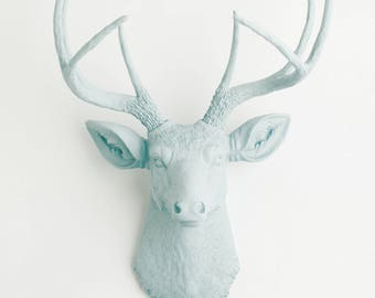 White Faux Taxidermy - The Florence - Powder Blue Resin Deer Head - Taxidermy Deer Head Mount Powder Blue Resin Stag by White Faux Taxidermy