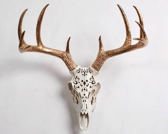 Deer Skull in Natural Filigree Resin with Gold Antlers - Resin Deer Skull Head by White Faux Taxidermy- Western Decor Stag Deer Animal Skull