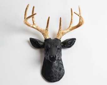 Mini Deer Head Wall Mount in Black + Gold, The Mini Alexandr Animal Head by White Faux Taxidermy